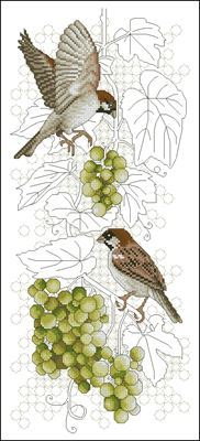 Sparrows and grapes схема вышивки