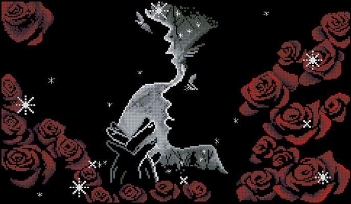 Пара и розы схема вышивки крестом