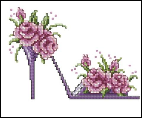 Цветочные туфельки 3 вышивка крестом