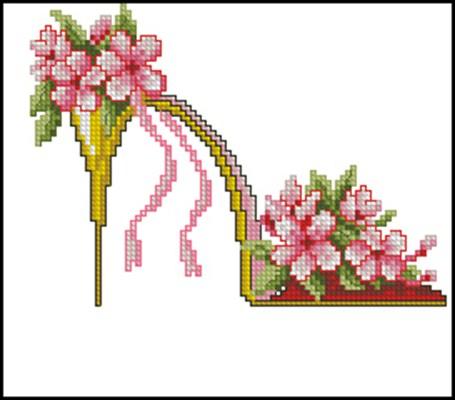 Цветочные туфельки 4 вышивка крестом