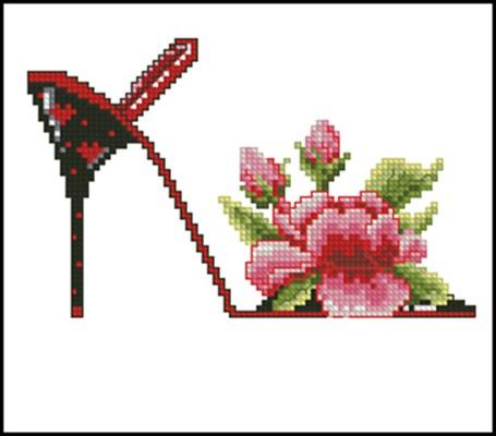 Цветочные туфельки 5 схема вышивки