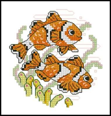Две рыбки вышивка крестом