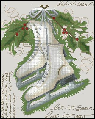 Vintage Winter Коньки схема вышивки крестом