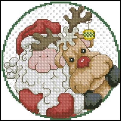 Santa and Rudolph схема вышивки крестом