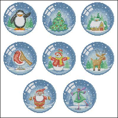 Рождественские шарики схема вышивка крестом