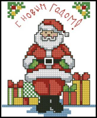 Дед Мороз вышивка крестом схема