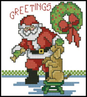 Дед Мороз и песик вышивка крестом схема скачать бесплатно