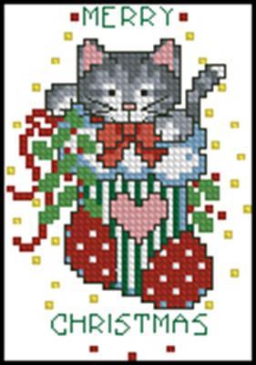 Котенок в носке схема вышивки крестом