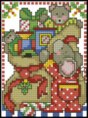 Мышка с подарками схема вышивки крестом