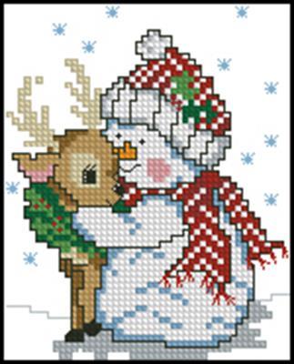 Снеговик вышивка крестом скачать схему
