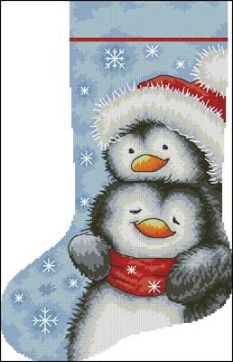 Hugging Penguins Stocking схема вышивки крестом