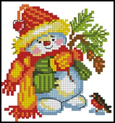 Снеговичек в ярком шарфе и шапке схема вышивки