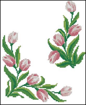 Подушка тюльпаны вышивка