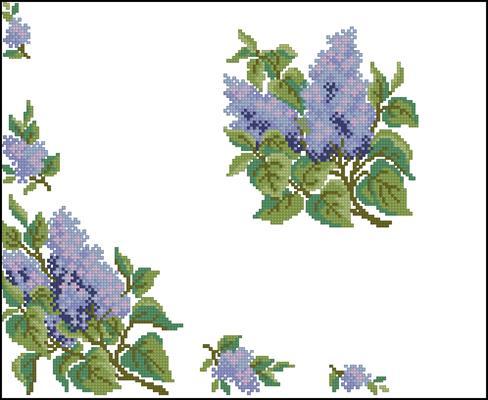 Сирень (на салфетку или скатерть) вышивка крестом