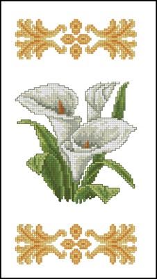 Белые каллы вышивка крестом схема