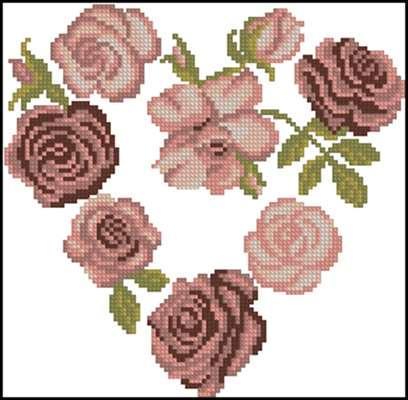 Heart of Roses вышивка крестиком