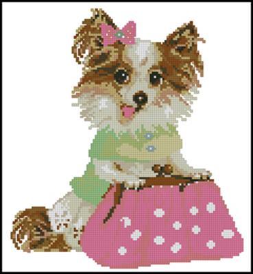 Модная собачка вышивка крестом