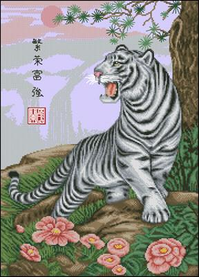 White tigre вышивка схема