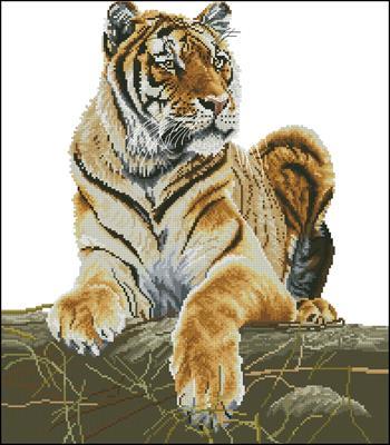 Тигр схема вышивки крестиком