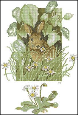 Hare in a green field вышивка крестиком схема скачать