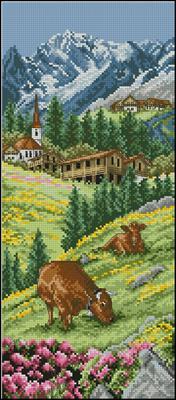 Swis Alpine Landscape схема вышивки