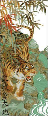 Тигр Риолис вышивка кретсом схема
