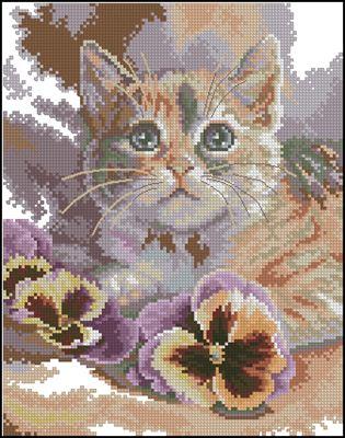 Cat daydreaming схема вышивки крестом