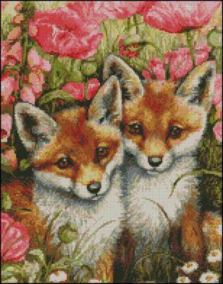 Little Foxes вышивка крестом схема