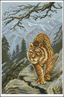 Тигър схема вышивки крестом