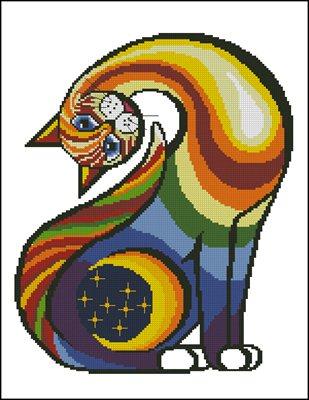 Coloured cat вышивка крестом схема скачать