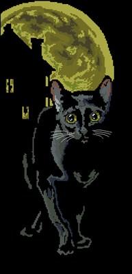 Черная кошка в ночи вышивка крестом