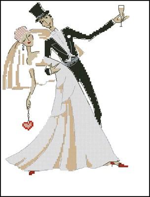 Жених и невеста вышивка крестом скачать схему