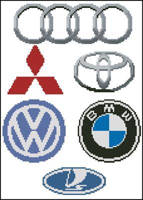 Автомобильные значки схема вышивки крестиком