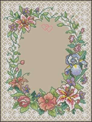 Two Hearts Wedding Record схема вышивки крестом