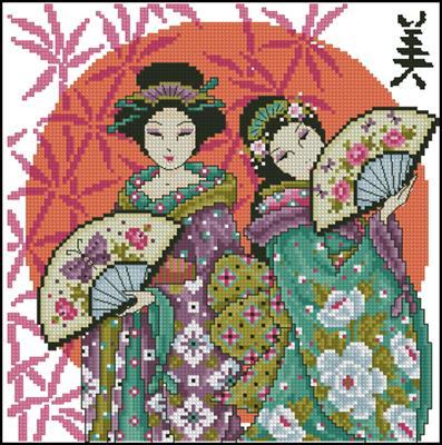 Красота по-японски схема вышивки крестиком