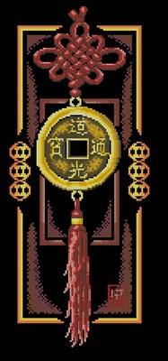 Золотая монетка схема вышивки крестом