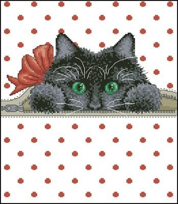 Котик в кармашке вышивка крестом