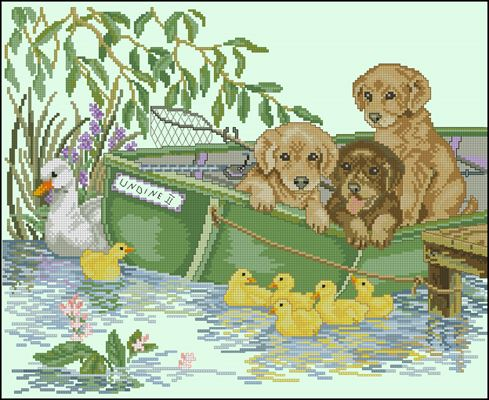 Puppies in a Boat схема вышивки