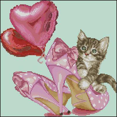 Valentine's kitten схема вышивки