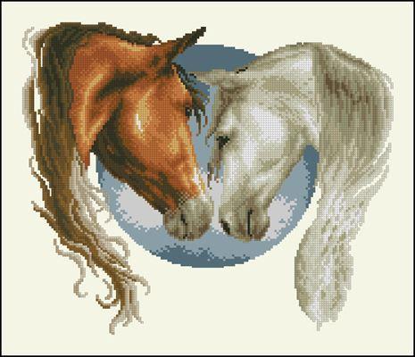 PN-01450862 Horses схема вышивки крестом