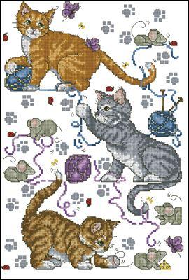 Кошки - мышки схема вышивки крестом