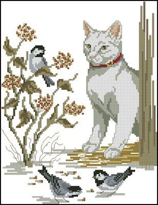 Кошка и воробьи вышивка крестом