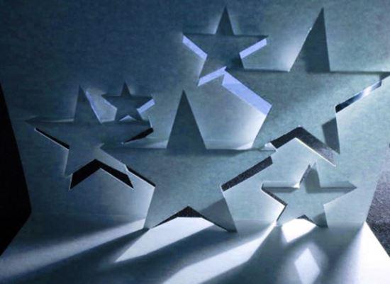 карточка с объёмными звёздами внутри