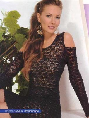 Черное кружевное платье вязаное крючком