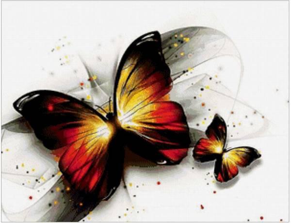 бабочки схема вышивки