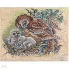 Eva Rosenstand 12-523 Owl with young ones схема вышивки крестом